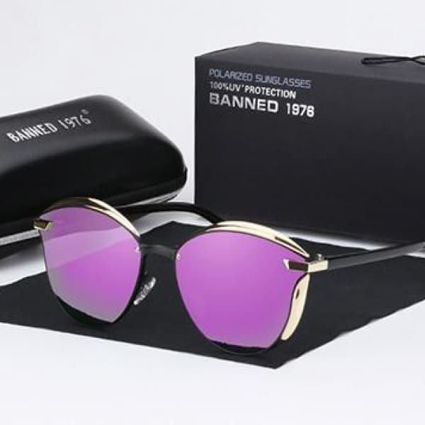 BANNED 1976 Retro Style Pilot Sunglasses - Purple - Sunglasses