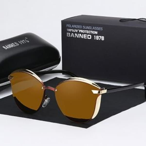 BANNED 1976 Retro Style Pilot Sunglasses - Tea - Sunglasses