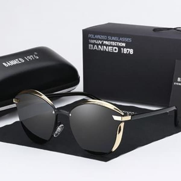BANNED 1976 Retro Style Pilot Sunglasses - Black - Sunglasses