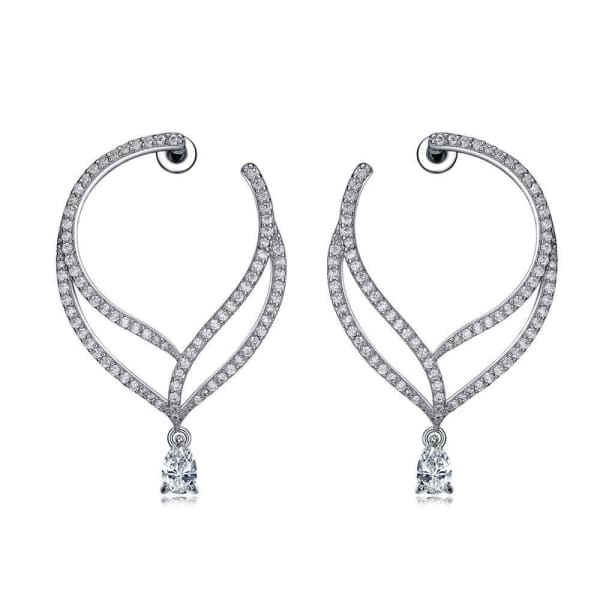 Crystal Leaf Drop Earrings - Drop Earrings