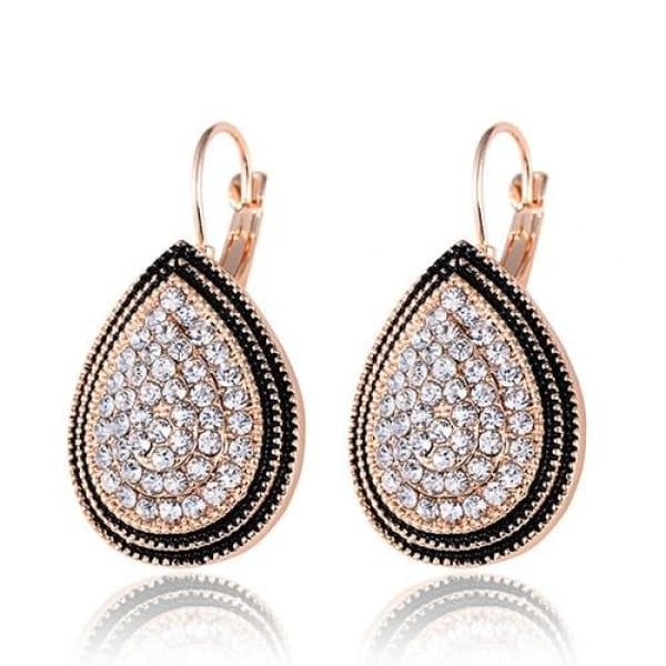 Water Drop Crystal Earrings - Gold Tone - Drop Earrings
