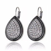 Water Drop Crystal Earrings - Silver Tone - Drop Earrings
