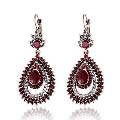 Vintage Ruby Red Crystal Long Drop Earrings - Drop Earrings