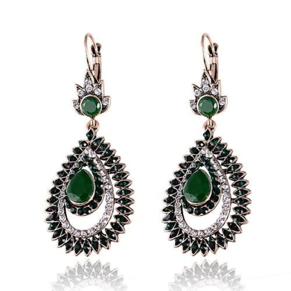 Vintage Emerald Green Crystal Long Drop Earrings - Drop Earrings