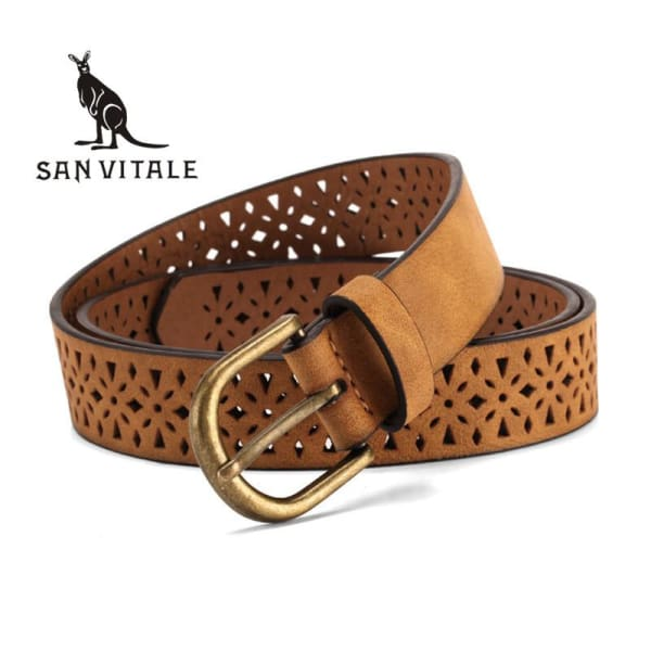 SAN VITALE Filigree Synthetic Leather Belt - Belt