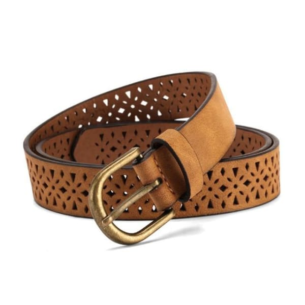 SAN VITALE Filigree Synthetic Leather Belt - BROWN / 40 - Belt