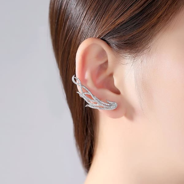 Crystal Feather Ear Jackets - Ear Jacket Earrings