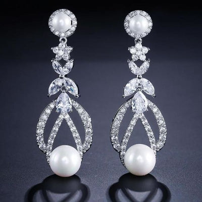 Vintage Faux Pearl and Crystal Drop Earrings - Drop Earrings