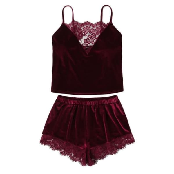 Burgundy Velvet with Lace Trim Cami & Shorts Pajamas Set - Burgundy / XS - Lingerie Set