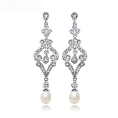 Vintage Crystal and Faux Pearl Drop Earrings - Drop Earrings