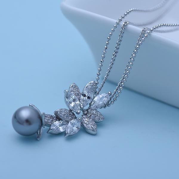 Gray Faux Pearl and Crystal Leaf Necklace - Necklace