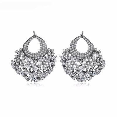 Floral Crystal Fan Earrings - Silver - Fan Earrings