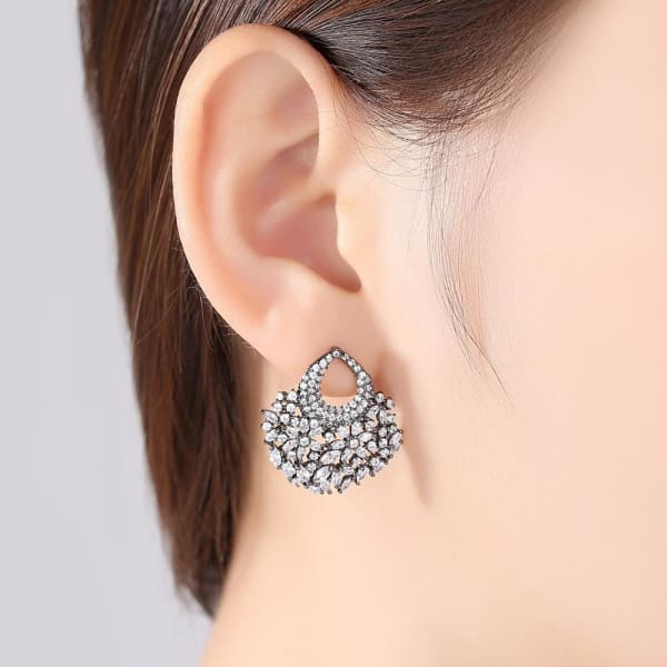 Floral Crystal Fan Earrings - Fan Earrings