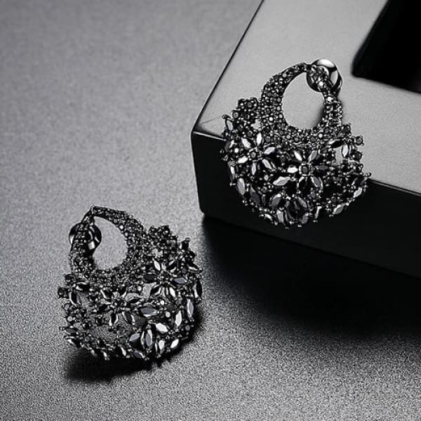 Floral Crystal Fan Earrings - Gun Metal - Fan Earrings