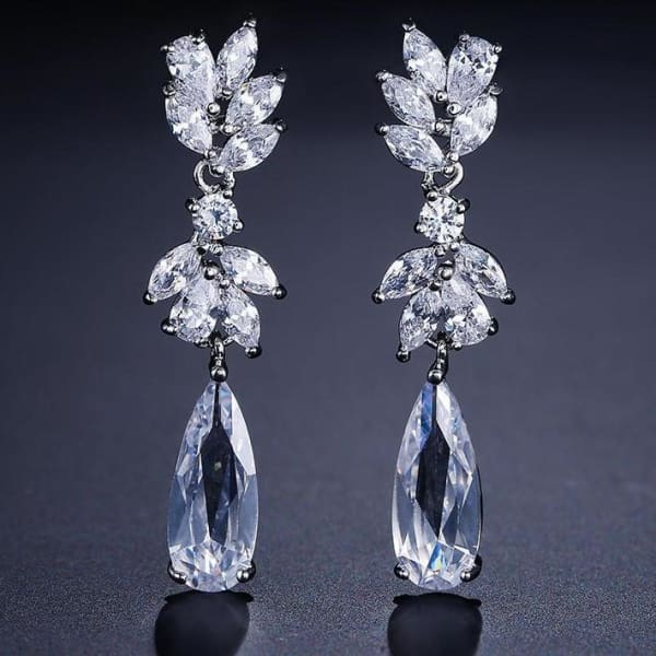 Crystal Pendant Drop Bridal Earrings - Drop Earrings