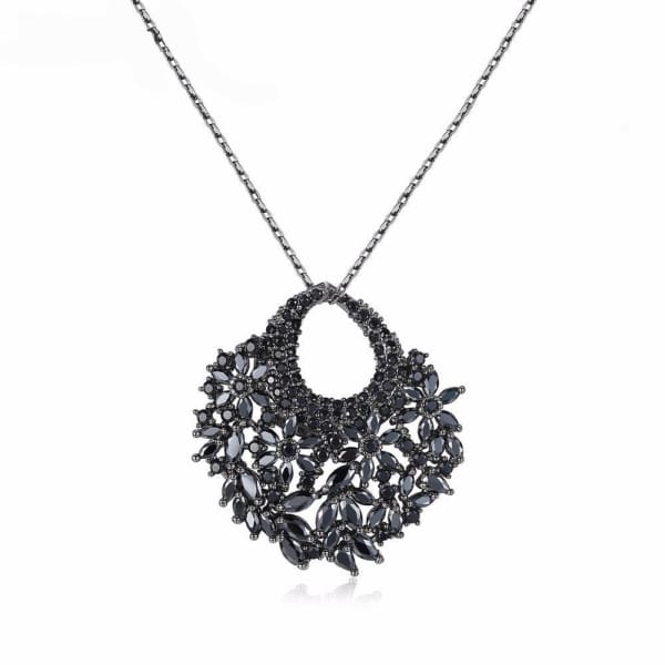 Vintage Crystal Floral Necklace - Necklace