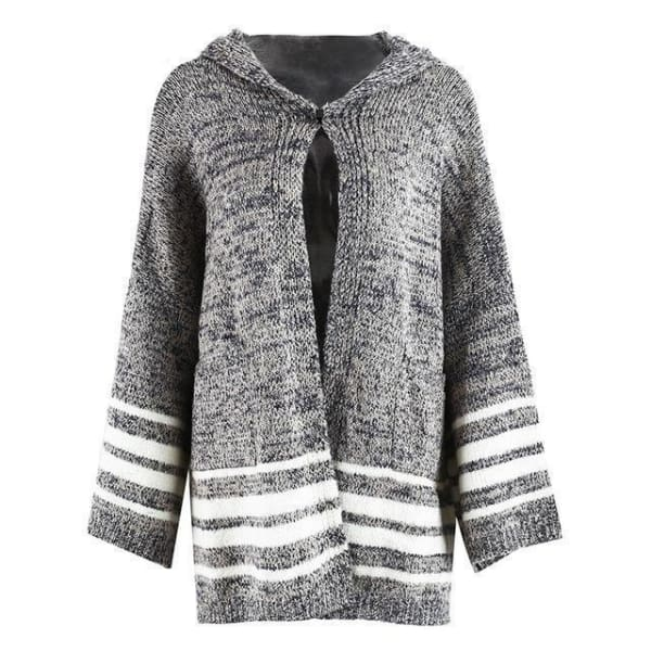 Stripe Hooded Cardigan - Cardigan