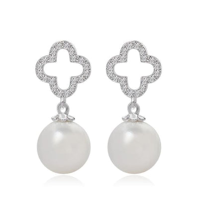 Quatrefoil Crystal and Pearl Drop Earrings - Drop Earrings