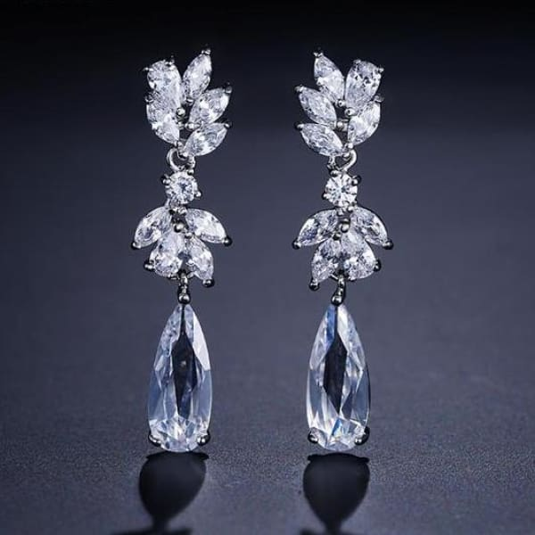 Crystal Pendant Drop Bridal Earrings - Sliver Color - Drop Earrings