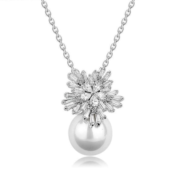 En Vogue Crystal Floral and Faux Pearl Necklace - Necklace