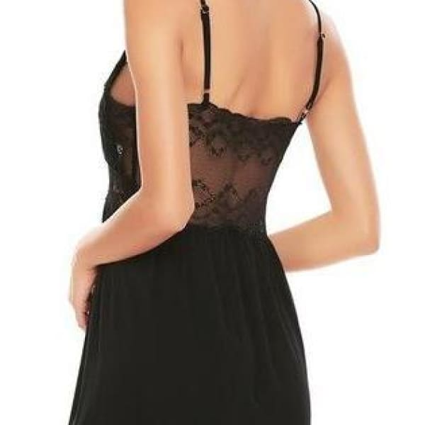 Backless Spaghetti Strap Night Gown - Black / L - Night Gown