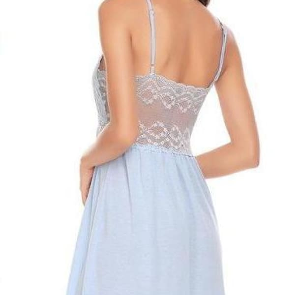Backless Spaghetti Strap Night Gown - Sky Blue / L - Night Gown