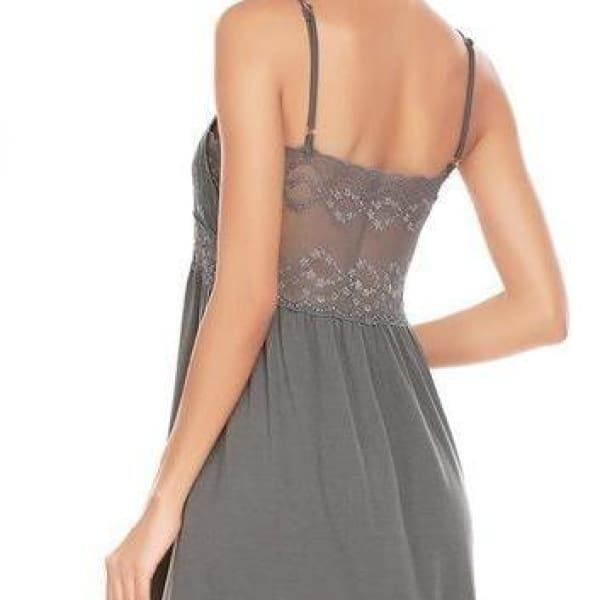 Backless Spaghetti Strap Night Gown - Gray / L - Night Gown