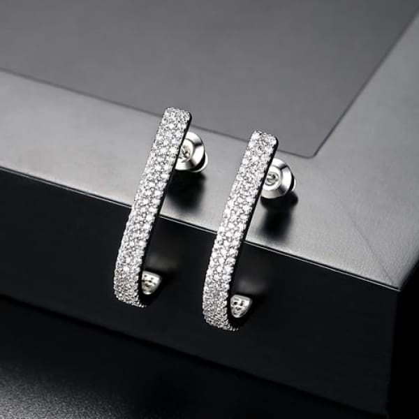 Elegant J Hook Crystal Earrings - Stud Earrings