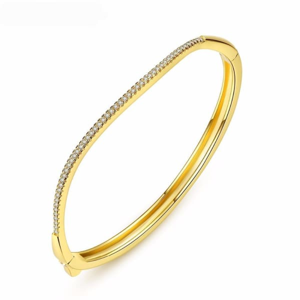 Curved Channel Set Bangle - Bangle