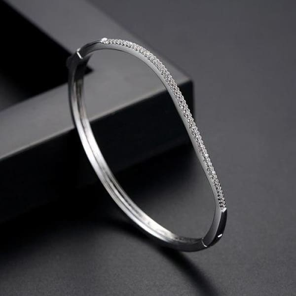 Curved Channel Set Bangle - White Gold - Bangle
