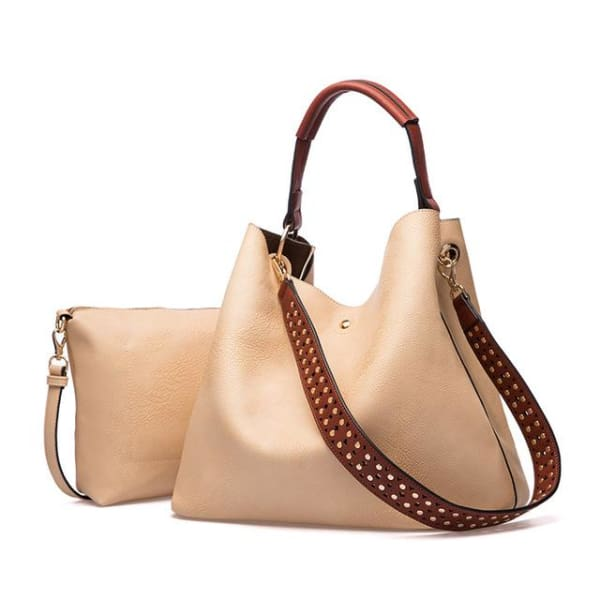 Leather Bucket Bag - Beige - Bucket