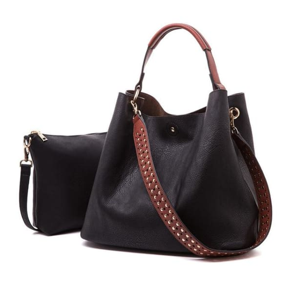 Leather Bucket Bag - Black - Bucket