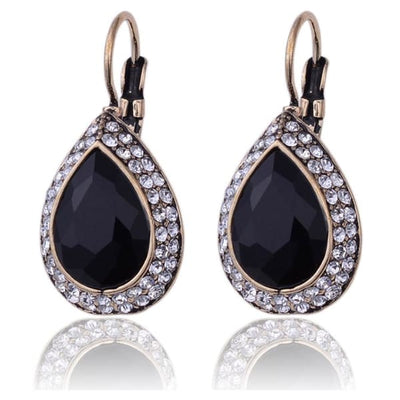 Water Drop Black Crystal Earrings - Drop Earrings