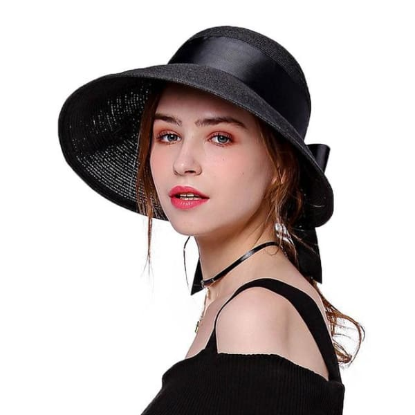 Wide Brim Cloche Straw Hat - Black - Cloche