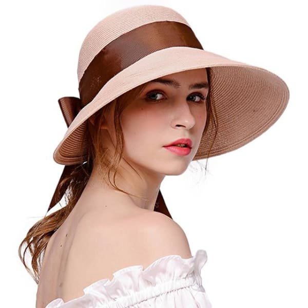 Wide Brim Cloche Straw Hat - Pink - Cloche