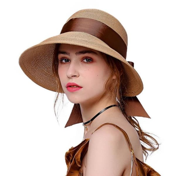 Wide Brim Cloche Straw Hat - Brown - Cloche
