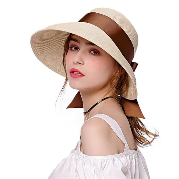 Wide Brim Cloche Straw Hat - Nature Color - Cloche