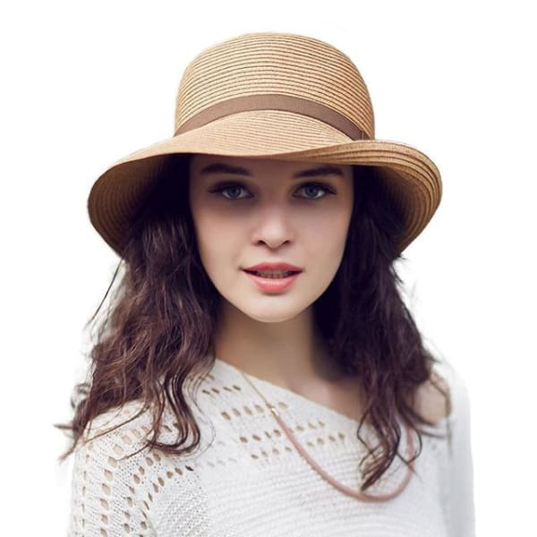 Fitted Straw Bucket Hat - Brown - Wide Brim