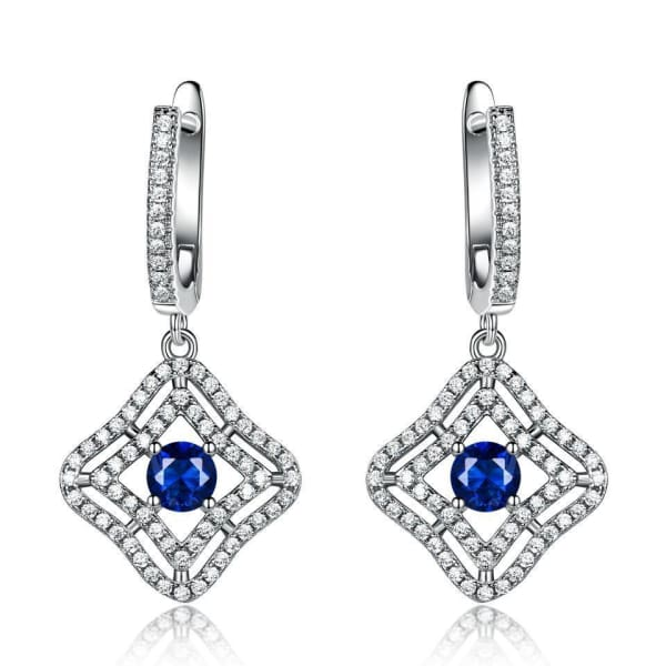 Blue Sapphire Sterling Silver Earrings - Drop Earrings