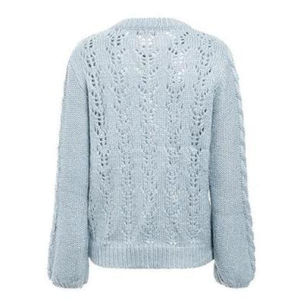 Lantern Sleeve Knit Sweater - Pullover