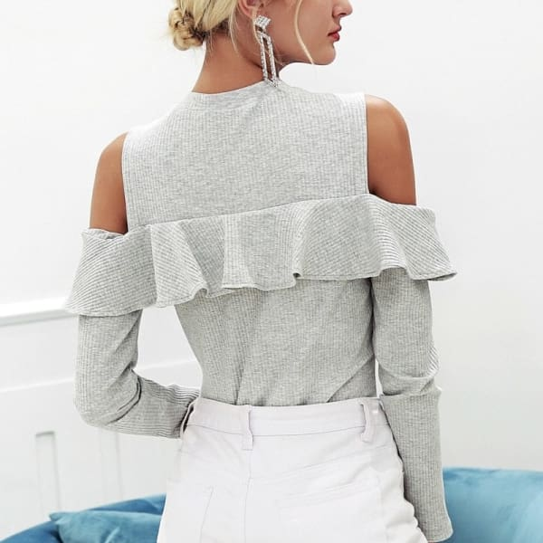 Cold Shoulder Ruffled Sweater - Sweater