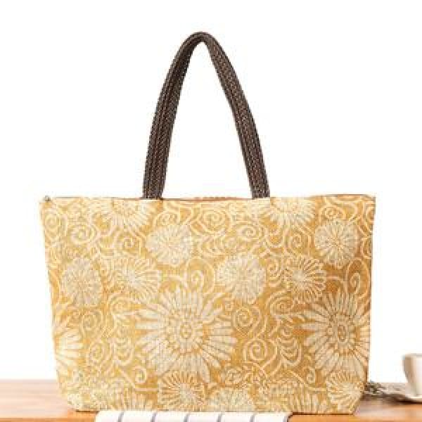 Floral Beach Bag - Gold - Beach Bag