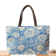 Floral Beach Bag - Blue - Beach Bag
