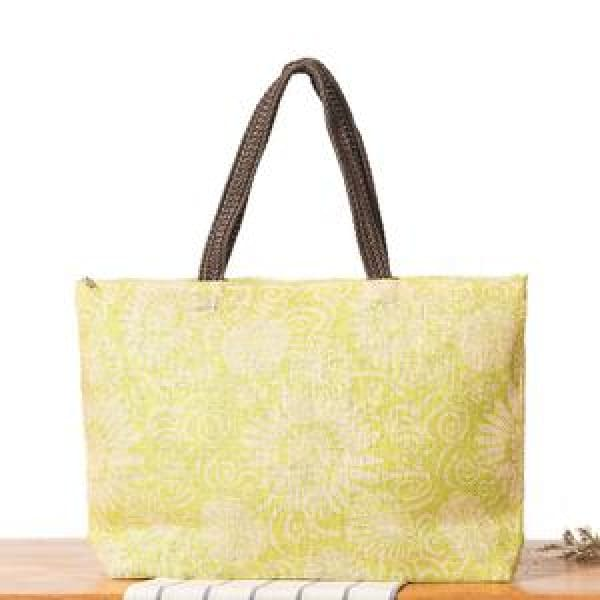 Floral Beach Bag - Yellow - Beach Bag