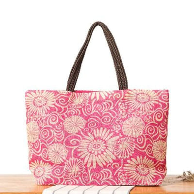 Floral Beach Bag - Hot Pink - Beach Bag
