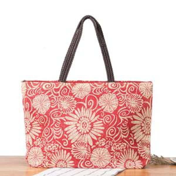 Floral Beach Bag - Red - Beach Bag
