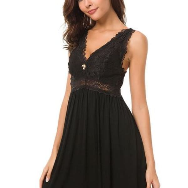 Lace Knit Nightgown - Black / S - Night Gown