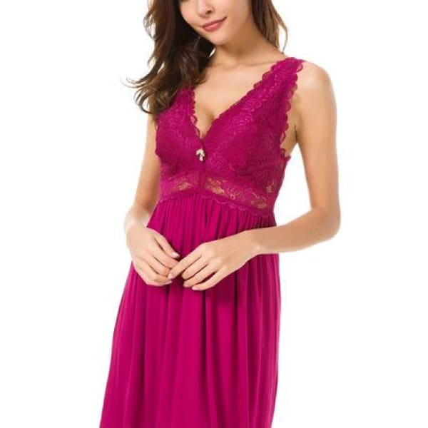 Lace Knit Nightgown - Red rose / S - Night Gown