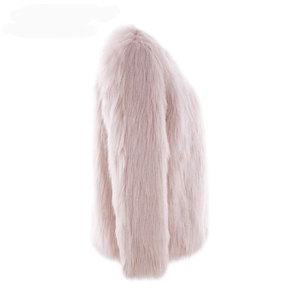 Faux Fur Collarless Coat - Coat