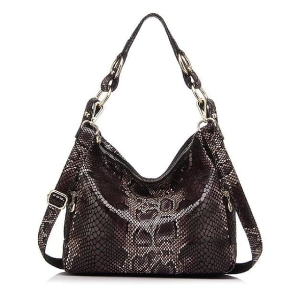 Leather Snakeskin Hobo - Dark Brown Snakeskin / Imported / 11.5W x 10.25H x 4D - Hobo